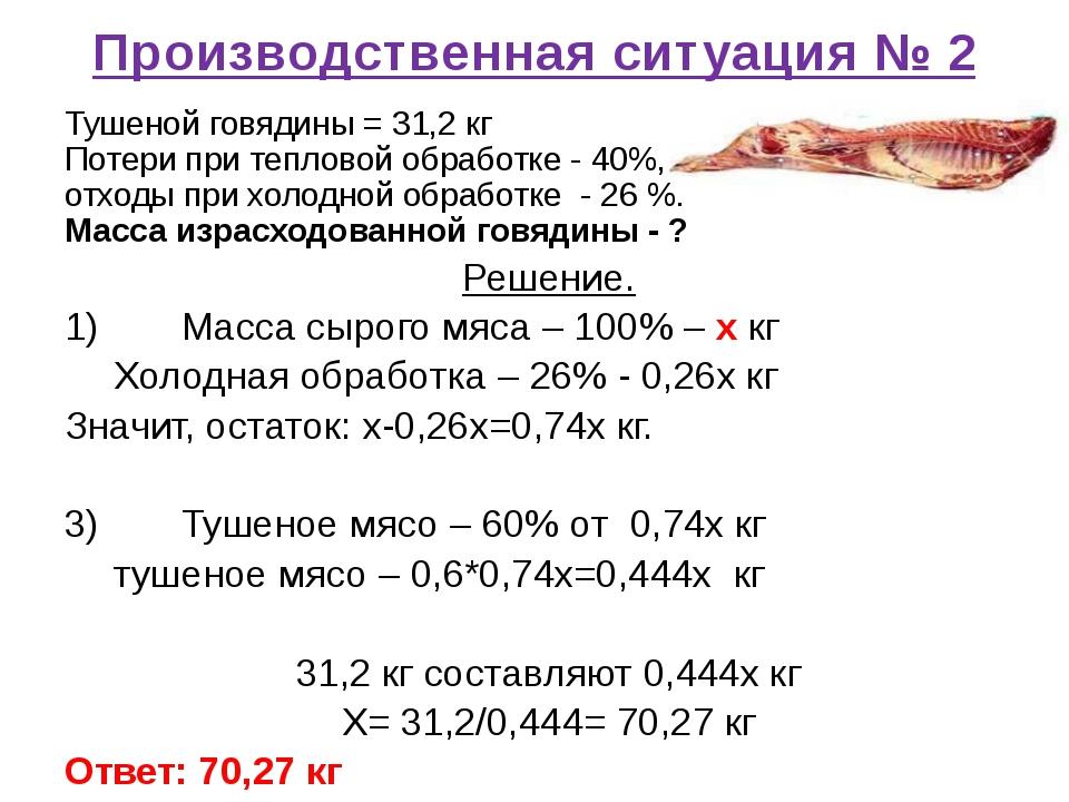 Производственная ситуация № 2 Тушеной говядины = 31,2 кг Потери при тепловой...