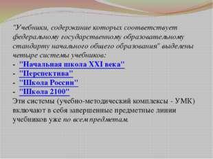 """""""Учебники, содержание которых соответствует федеральному государственному обр"""