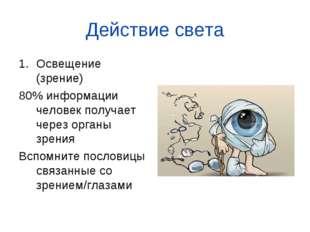 Действие света Освещение (зрение) 80% информации человек получает через орган