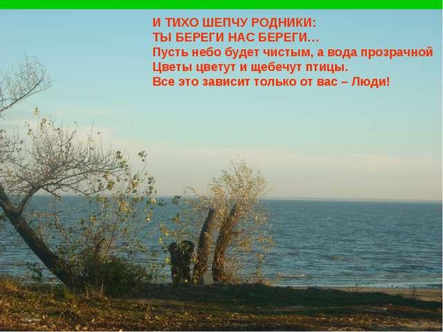 И ТИХО ШЕПЧУ РОДНИКИ: ТЫ БЕРЕГИ НАС БЕРЕГИ… Пусть небо будет чистым, а вода п...