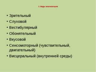 3. Виды анализаторов Зрительный Слуховой Вестибулярный Обонятельный Вкусовой