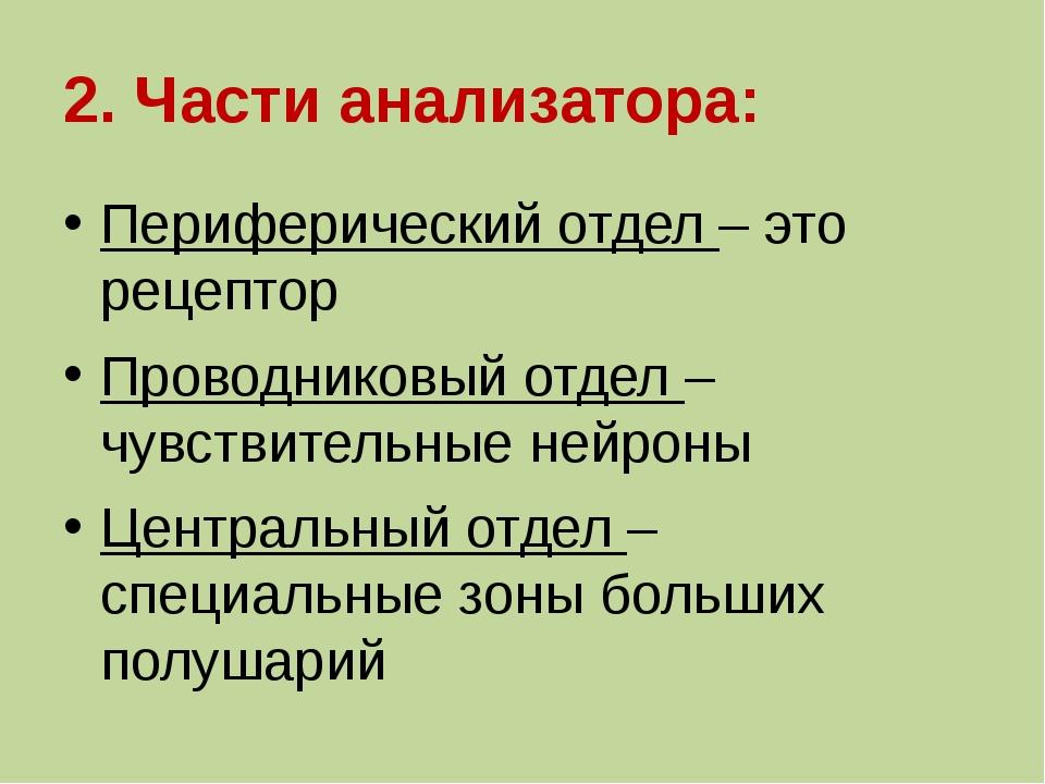 2. Части анализатора: Периферический отдел – это рецептор Проводниковый отдел...