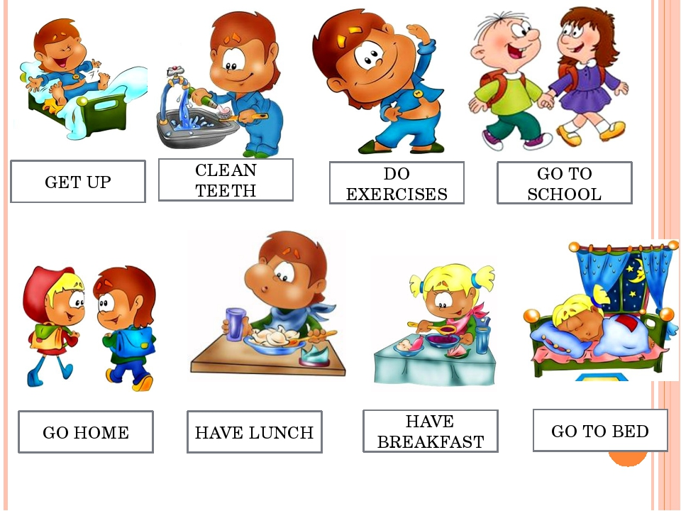 GET UP CLEAN TEETH DO EXERCISES GO TO SCHOOL GO TO BED HAVE BREAKFAST HAVE LU...