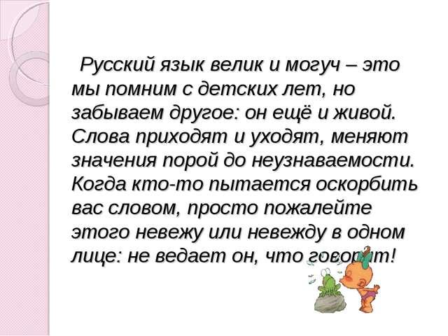 Русский язык велик и могуч – это мы помним с детских лет, но забываем другое...