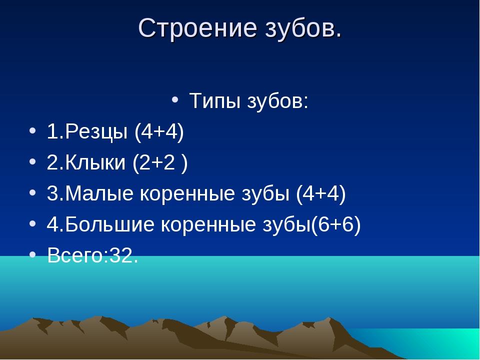 Строение зубов. Типы зубов: 1.Резцы (4+4) 2.Клыки (2+2 ) 3.Малые коренные зуб...