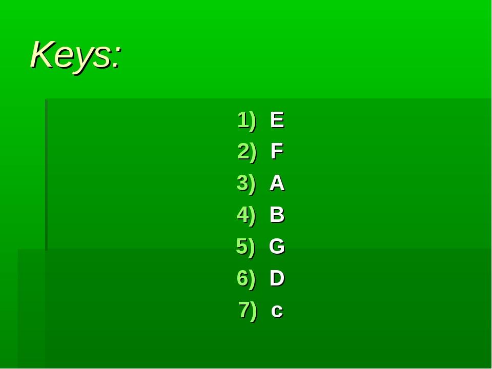 Keys: E F A B G D c