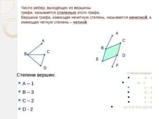 Число ребер, выходящих из вершины графа, называется степенью этого графа. Вер