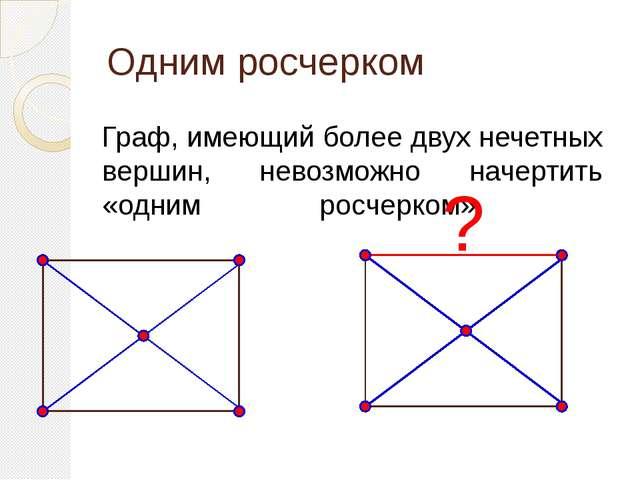 Одним росчерком Граф, имеющий более двух нечетных вершин, невозможно начертит...