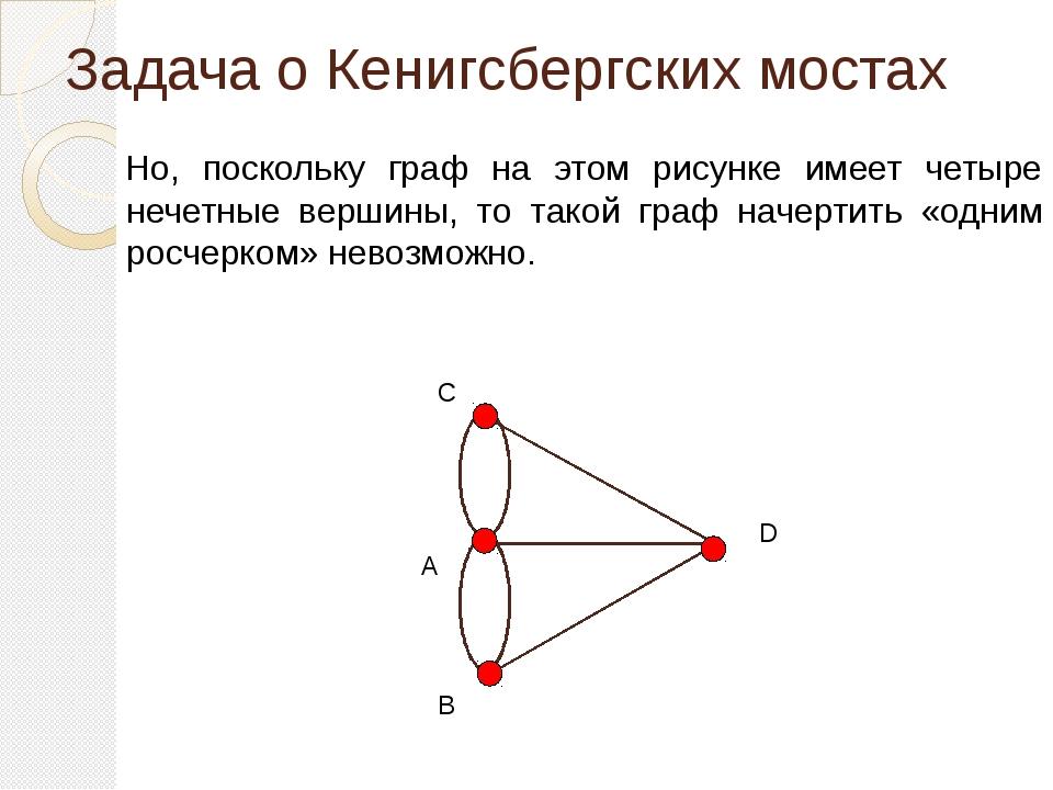 Задача о Кенигсбергских мостах Но, поскольку граф на этом рисунке имеет четыр...