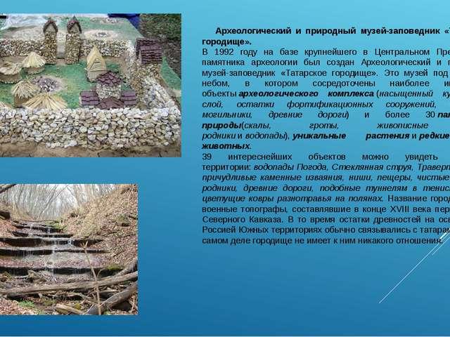 Археологический и природный музей-заповедник «Татарское городище». В 1992 го...