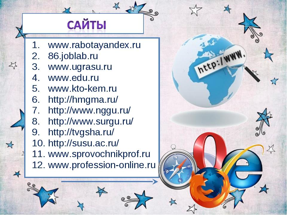 www.rabotayandex.ru 86.joblab.ru www.ugrasu.ru www.edu.ru www.kto-kem.ru http...