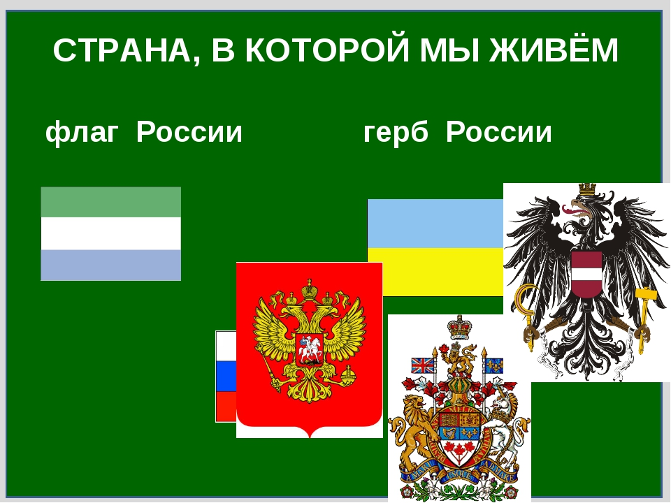 флаг России герб России СТРАНА, В КОТОРОЙ МЫ ЖИВЁМ