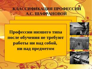 КЛАССИФИКАЦИЯ ПРОФЕССИЙ А.С. ШАФРАНОВОЙ Профессии низшего типа после обучения