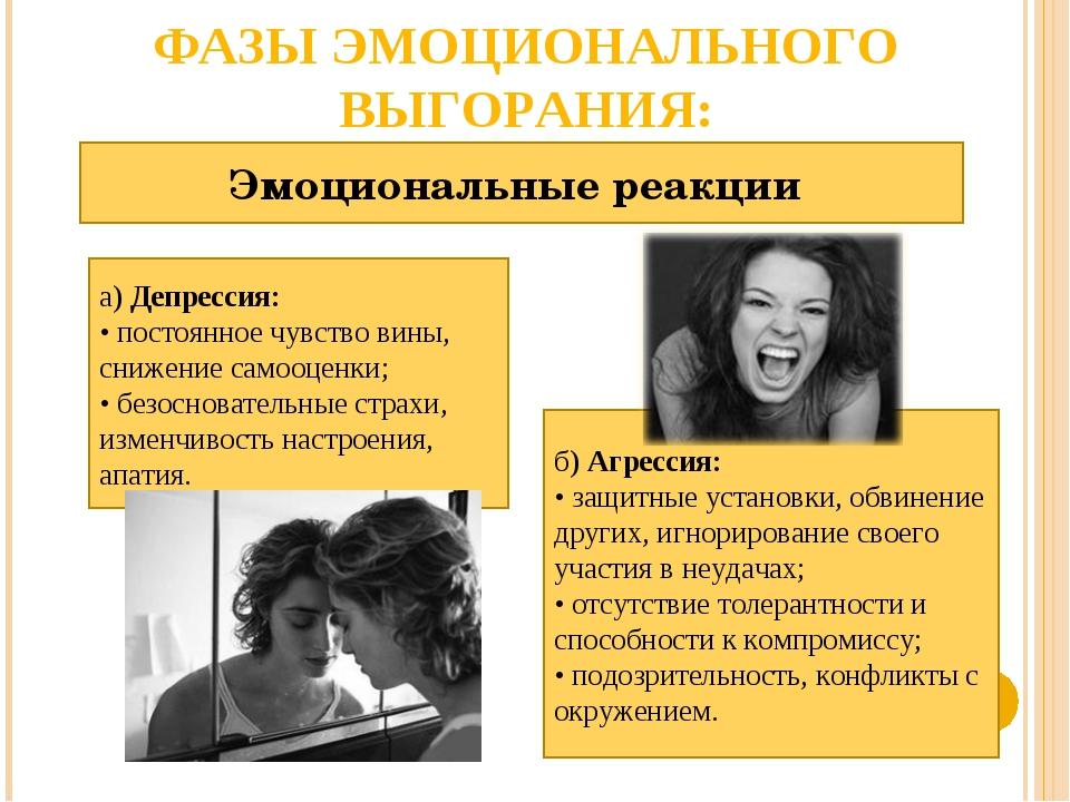 ФАЗЫ ЭМОЦИОНАЛЬНОГО ВЫГОРАНИЯ: Эмоциональные реакции а) Депрессия: • постоянн...