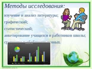 Методы исследования: изучение и анализ литературы; графический; статистически
