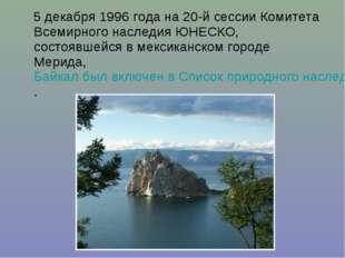 5 декабря 1996 года на 20-й сессии Комитета Всемирного наследия ЮНЕСКО, сост