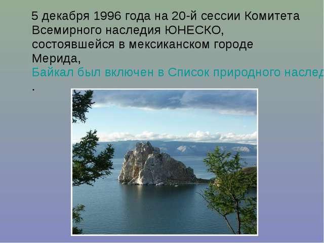 5 декабря 1996 года на 20-й сессии Комитета Всемирного наследия ЮНЕСКО, сост...