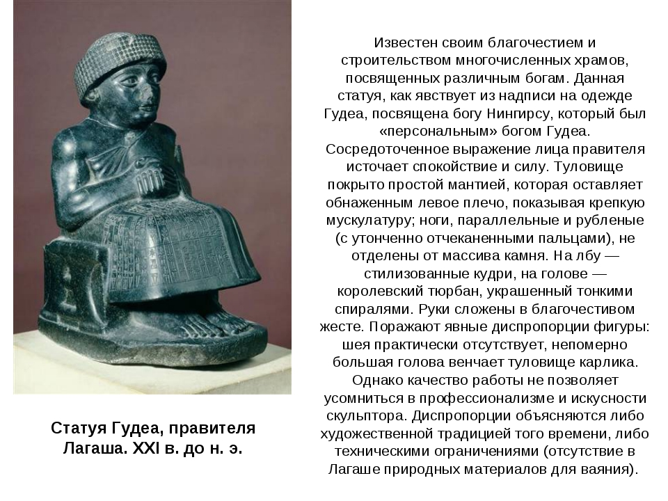 Статуя Гудеа, правителя Лагаша. XXI в. до н. э. Известен своим благочестием и...