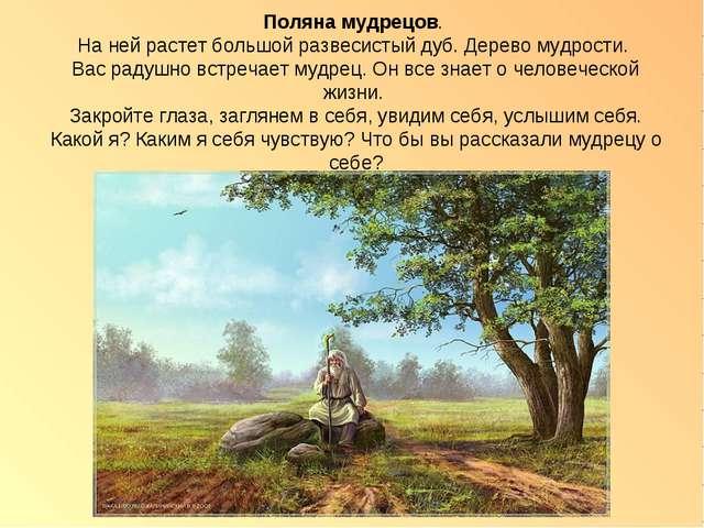 Поляна мудрецов. На ней растет большой развесистый дуб. Дерево мудрости. Вас...