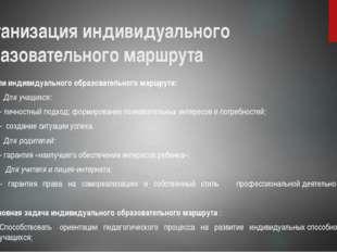 Организация индивидуального образовательного маршрута Цели индивидуального об