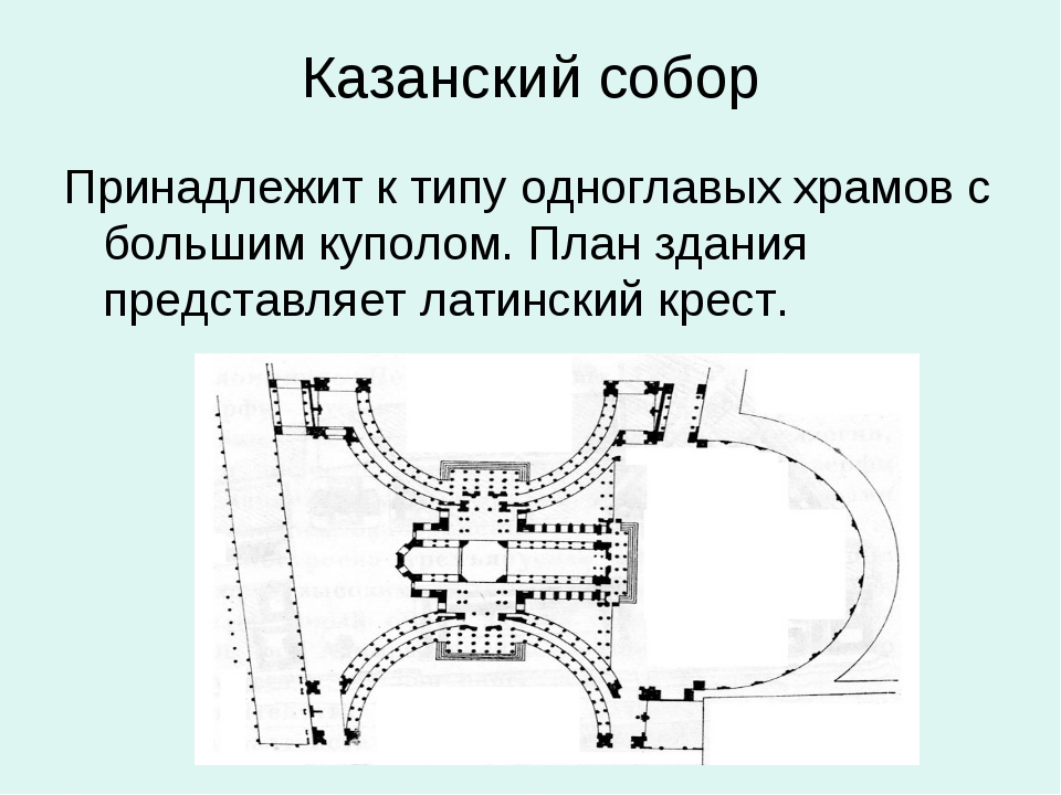 Казанский собор Принадлежит к типу одноглавых храмов с большим куполом. План...