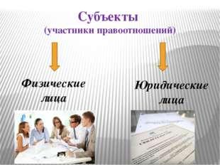 Субъекты (участники правоотношений) Физические лица Юридические лица