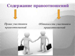 Содержание правоотношений Права участников правоотношений Обязанности участни