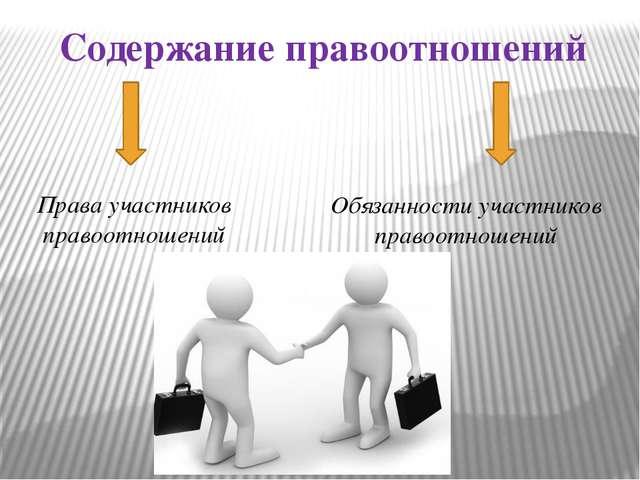 Содержание правоотношений Права участников правоотношений Обязанности участни...