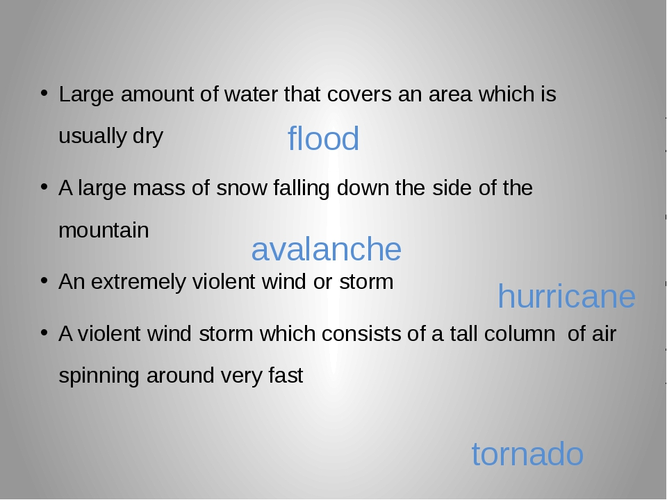 Large amount of water that covers an area which is usually dry A large mass...