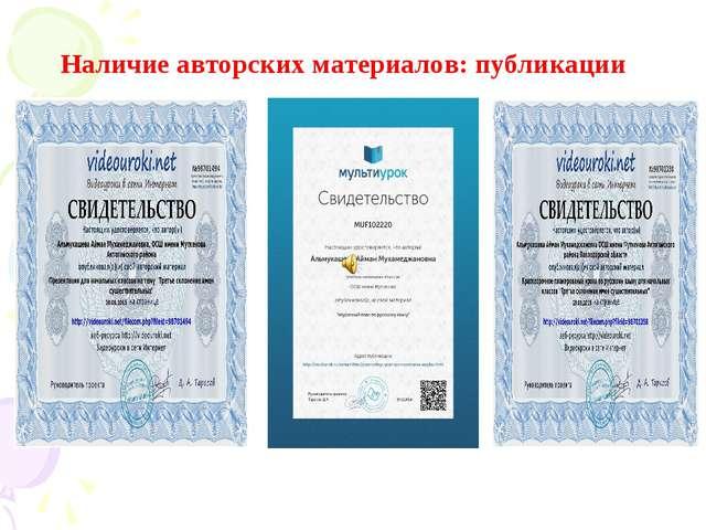 Наличие авторских материалов: публикации