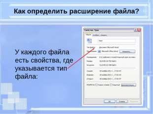 Как определить расширение файла? У каждого файла есть свойства, где указывает