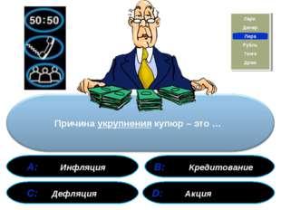 А: Инфляция В: Кредитование С: Дефляция D: Акция Акция Кредитование Дефляция