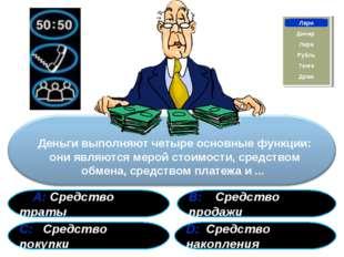 А: Средство траты В: Средство продажи С: Средство покупки D: Средство накопл