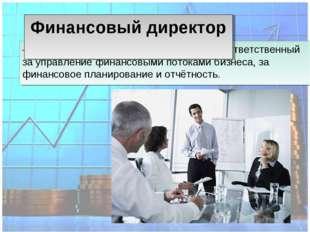 – один из высших управленцев компании, ответственный за управление финансовым