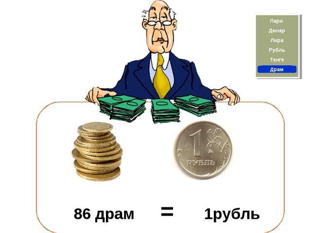 Драм Тенге 86 драм = 1рубль Рубль Лира Лари Динар