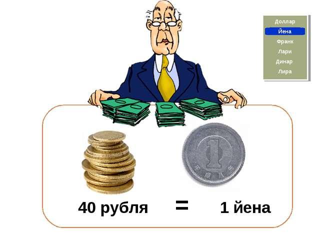 Франк Йена Доллар Лира Динар Лари 40 рубля = 1 йена