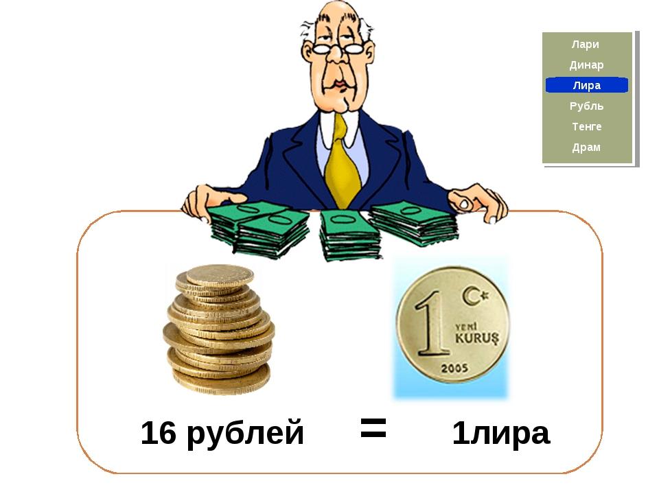 16 рублей = 1лира Драм Лира Тенге Рубль Лари Динар