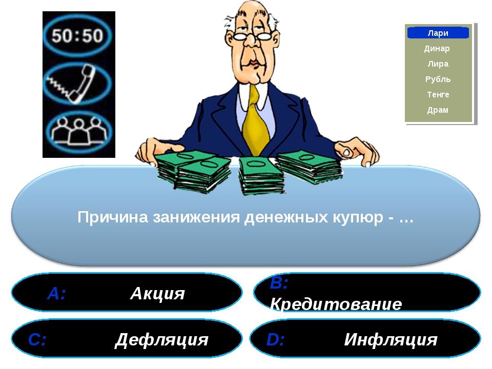 А: Акция В: Кредитование С: Дефляция D: Инфляция Лари Динар Драм Тенге Рубль...