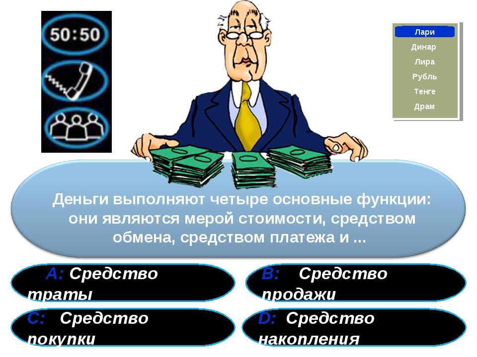 А: Средство траты В: Средство продажи С: Средство покупки D: Средство накопл...