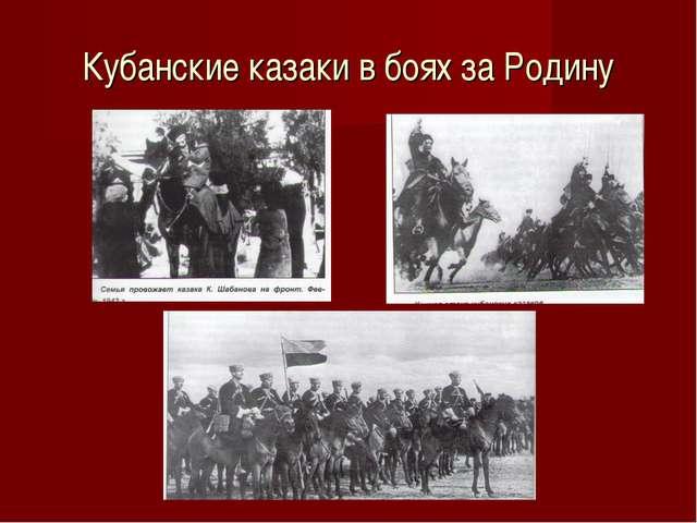 Кубанские казаки в боях за Родину