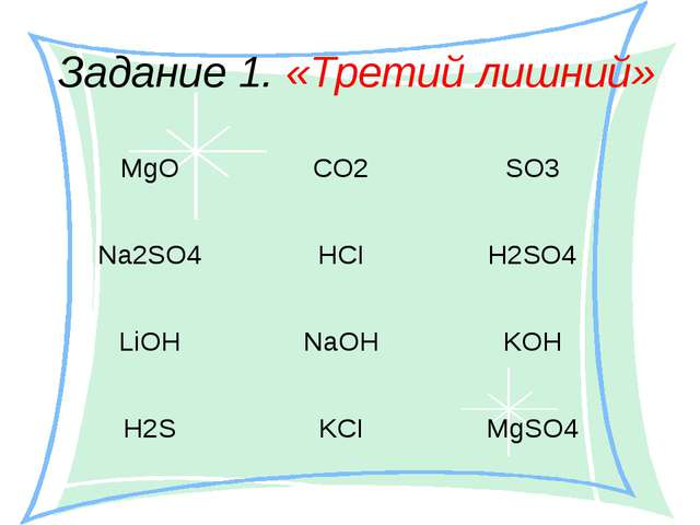 Задание 1. «Третий лишний» MgO CO2 SO3 Na2SO4 HCI H2SO4 LiOH NaOH KOH H2S KCI...