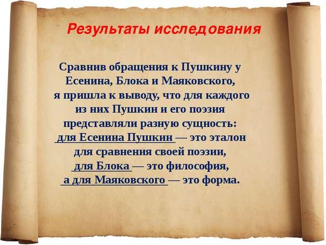 Результаты исследования Сравнив обращения к Пушкину у Есенина, Блока и Маяков...