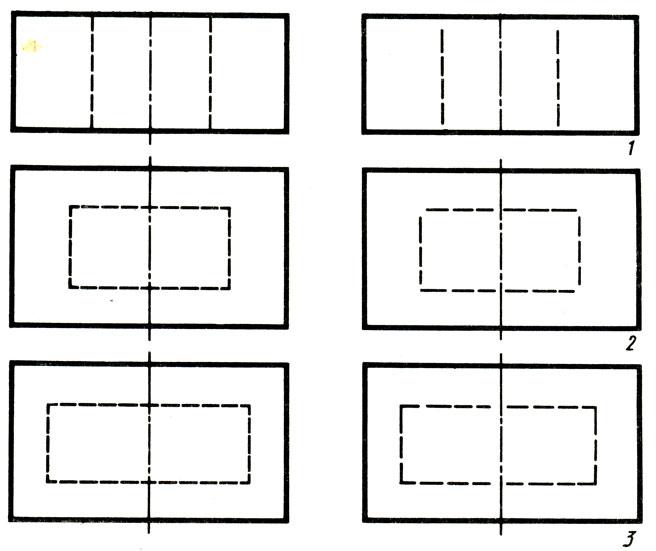 Рис. 13. Примеры использования штриховых и штрихпунктирных линий
