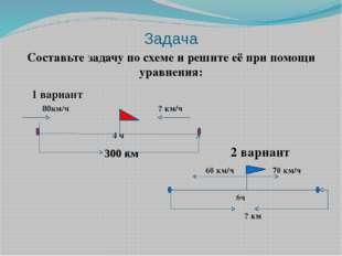 Задача Составьте задачу по схеме и решите её при помощи уравнения: 300 км 80к