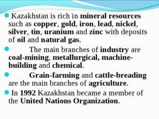 Kazakhstan is rich in mineral resources such as copper, gold, iron, lead, nic
