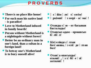 P R O V E R B S There is no place like home! For each man his native land –
