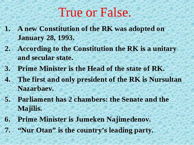 True or False. A new Constitution of the RK was adopted on January 28, 1993....