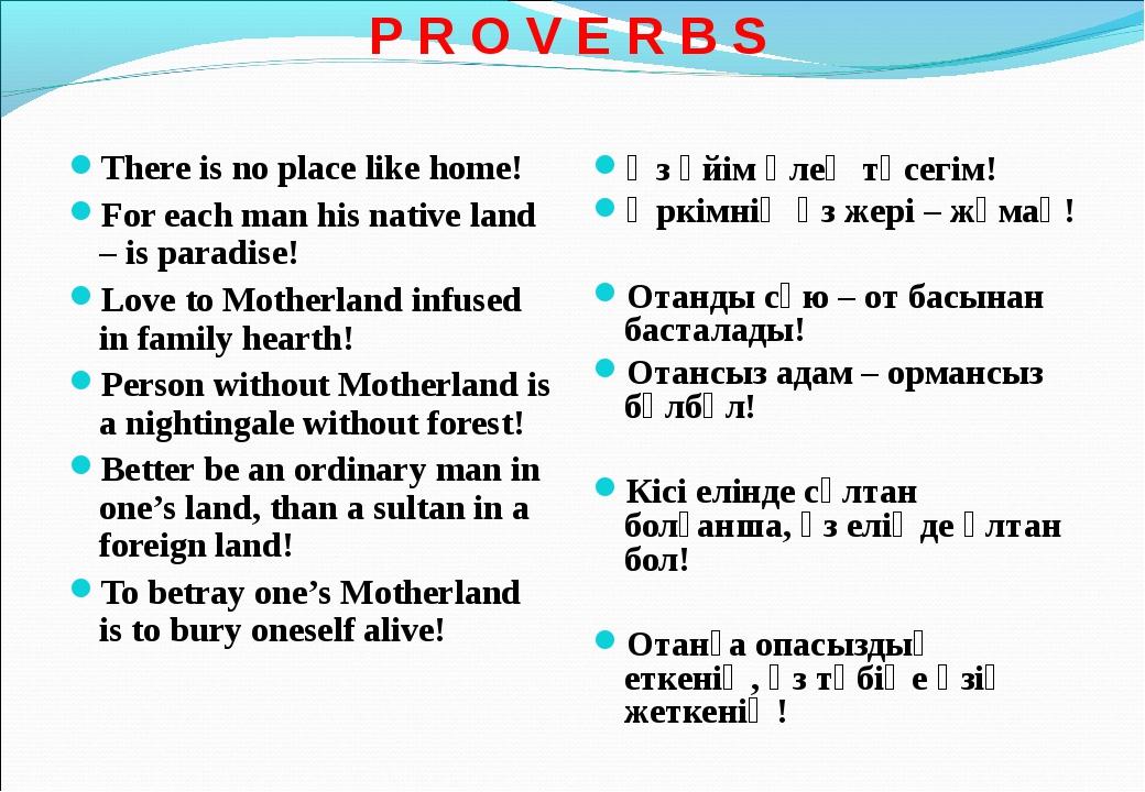 P R O V E R B S There is no place like home! For each man his native land –...