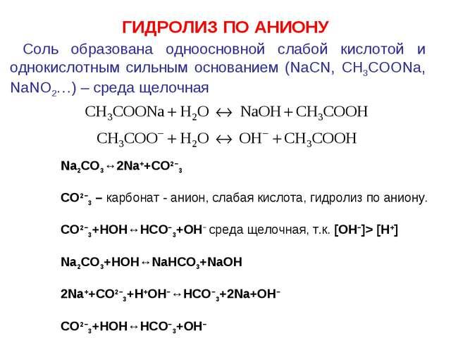 Соль образована одноосновной слабой кислотой и однокислотным сильным основан...
