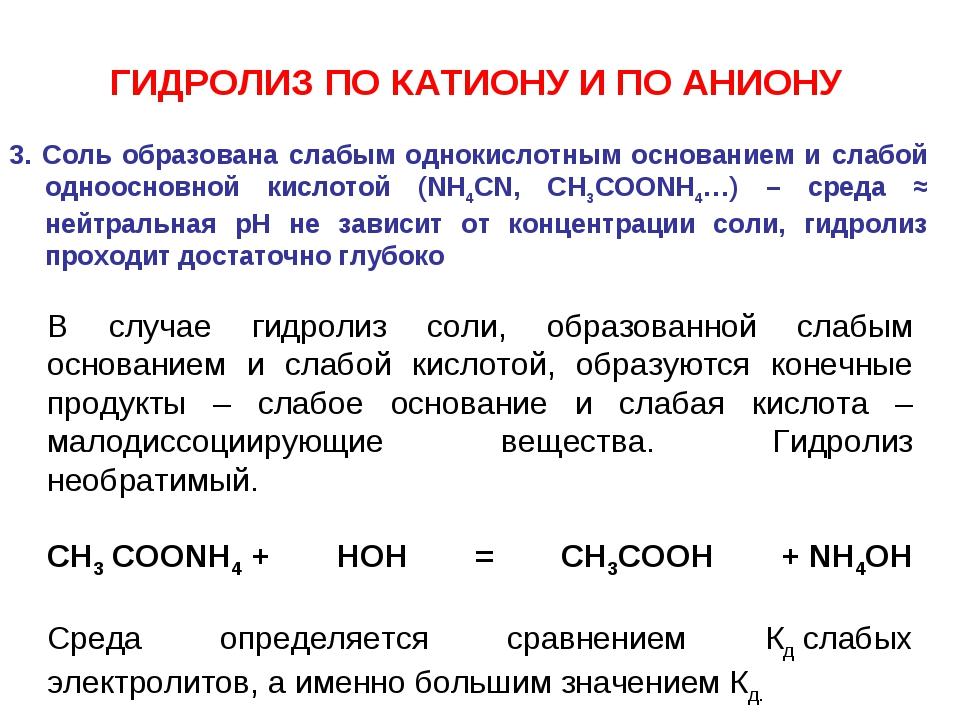 3. Соль образована слабым однокислотным основанием и слабой одноосновной кисл...